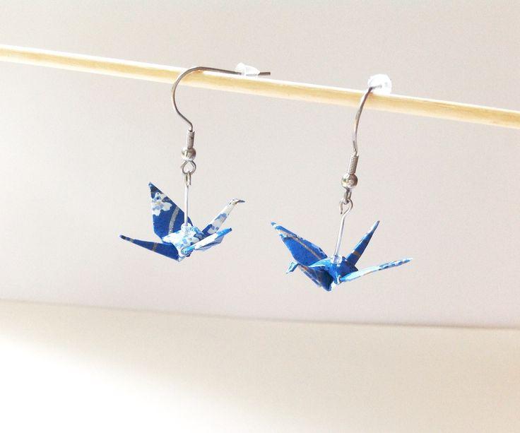 Grues origami boucles d'oreilles, bijou origami, papier bleu, crochets inox