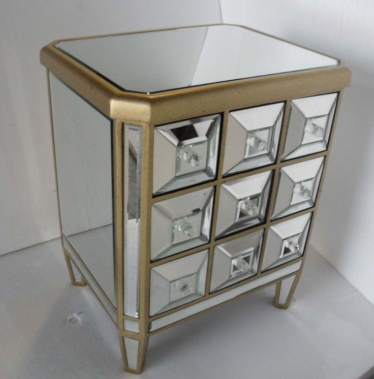 Mirrored nightstands 1930s french mirrored collection for Dresser nightstand set cheap