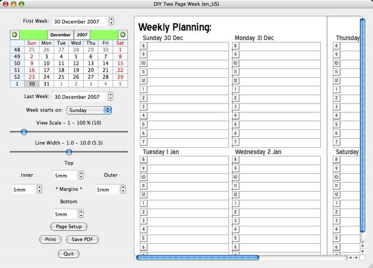 dynamic templates for creating weekly planners