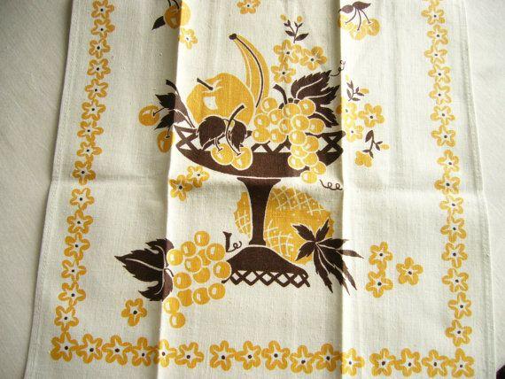 Perfect Midcentury Linen-Cotton Tea Towel by FabricOfTheUniverse