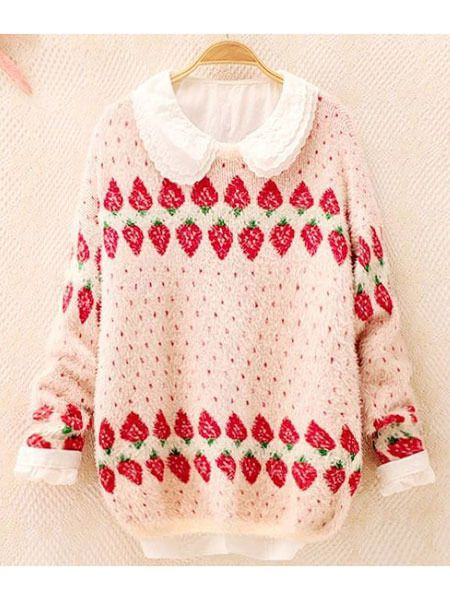 This+lovely+strawberry+sweater+will+sweeten+up+your+outfit++(≧◡≦)+Made+by+high+quality+knitting+wool.+Please+check+this+size+guide+for+measurement+reference.  Please+Note:+The+collar+is+not+included+like+the+first+photo!+  US+Size	One+Size+Fits+For+S,+M  UK+Size+	6-12  Tag+Size	34-40  European+Si...