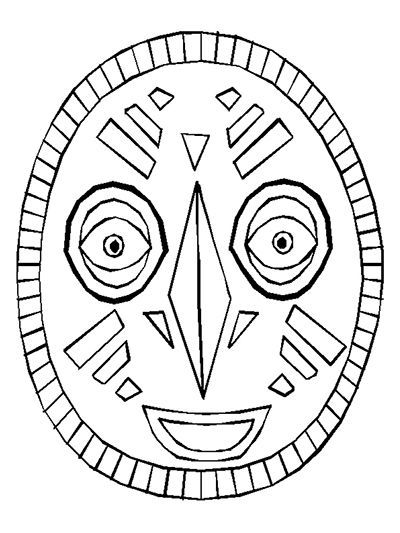 Use the African mask as a coloring page or copy the pattern onto heavy stock paper and use yarn to create a wearable mask. Download—-> African Mask Use with …