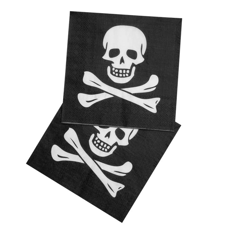 Set van 12 piratenservetten. Afmeting: 33 x 33 cm, opgevouwen 16,5 x 16,5 cm - Piraten Servetten, 12st.
