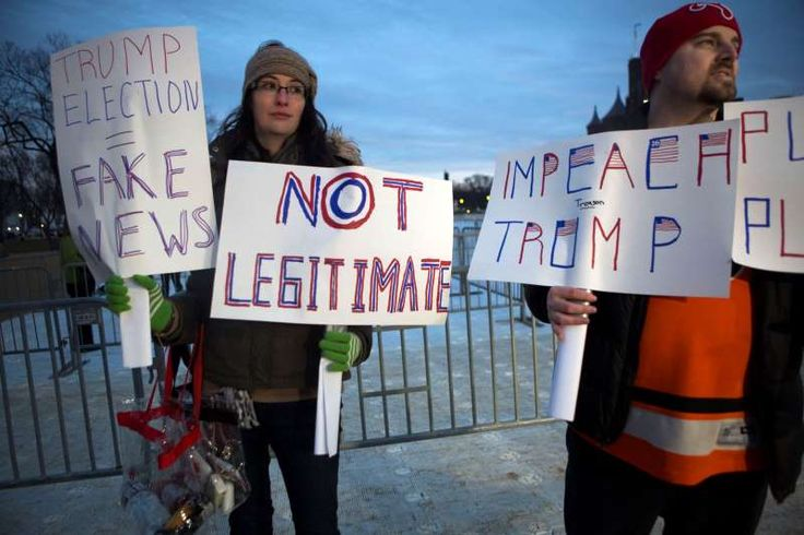 Inauguration protests    Maggie Larson and her husband Michael Larson traveled from Philadelphia to protest the inauguration of Donald Trump on the National Mall on Friday.