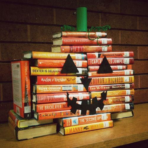 thelifeguardlibrarian:  Because seasonal book piles are best....