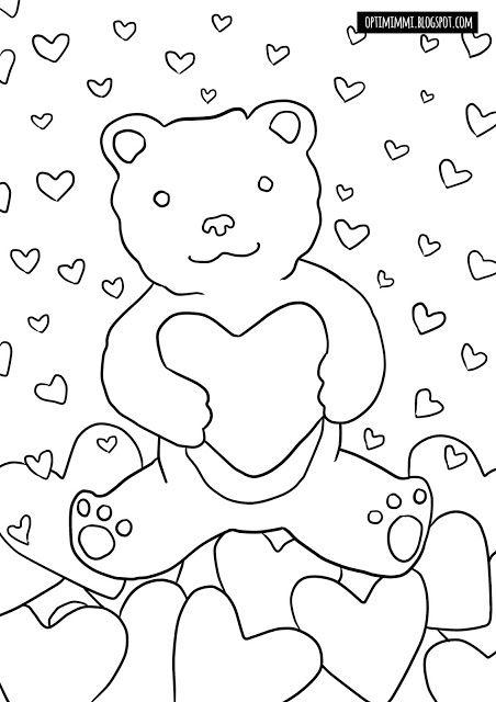 OPTIMIMMI | A free printable coloring page-card of a teddy bear with hearts for Valentine's Day / Ilmainen tulostettava värityskuva-kortti nallesta ja sydämistä ystävänpäivälle