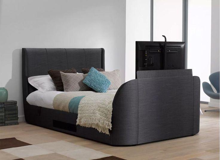 Titanium T3 Slate Grey Fabric Upholstered Samsung LED TV Bed Frame