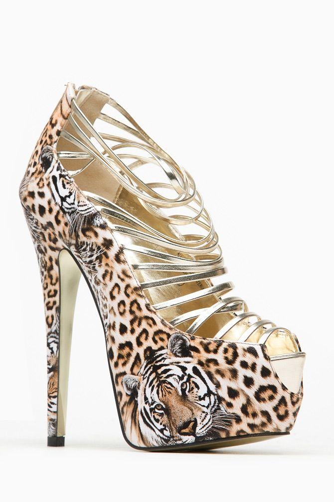 Bumper Tiger Print Strappy Peep Toe Platform Pump @ Cicihot Heel Shoes online store sales:Stiletto Heel Shoes,High Heel Pumps,Womens High Heel Shoes,Prom Shoes,High Heel Sandals