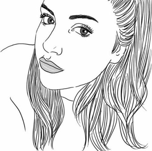 outlines, girl, hair