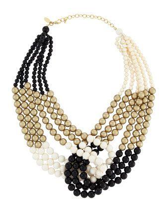 Multi-colored pearl necklace