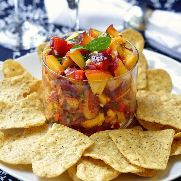 Peach and Basil Salsa - a wonderfully flavorful, fresh summer salsa that's great with tortilla chips or served with grilled fish, chicken or pork. Top your summer salads with it as an oil-free alternative to salad dressing.