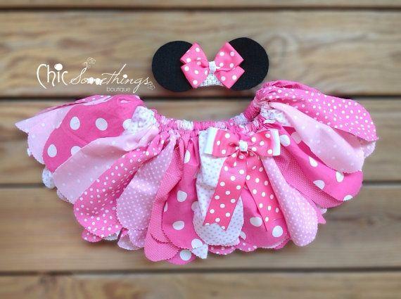 Fabric Tutu, TEA WITH , Minnie mouse birthday, pink tutu, minnie halloween costume, Minnie Mouse fabric tutu, minni birthday tutu