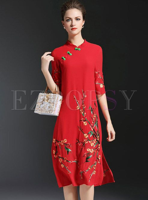 Shop for high quality Vintage Embroidered Stand Collar Half Sleeve Dress online at cheap prices and discover fashion at Ezpopsy.com