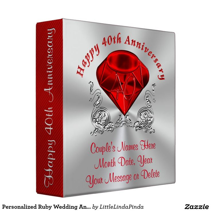 Personalized 40th Wedding Anniversary Photo Album Binder with YOUR TEXT. Gorgeous faux Ruby and Swirls on silver colored background and the Couple's NAMES, DATE, Your MESSAGE or Delete CLICK: http://www.zazzle.com/personalized_ruby_wedding_anniversary_photo_album_3_ring_binder-127937042504165736?rf=238147997806552929 Beautiful 40th wedding anniversary gifts for couples, friends and family HERE: http://www.zazzle.com/littlelindapinda/gifts?cg=196050721621507373&rf=238147997806552929
