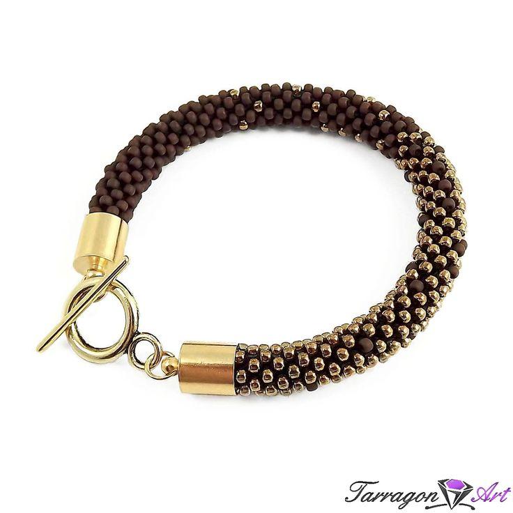 Bransoletka szydełkowo koralikowa Seed Beads - Oxblood & Bronze - Seed Beads / Bransoletki - Tarragon Art - stylowa biżuteria artystyczna