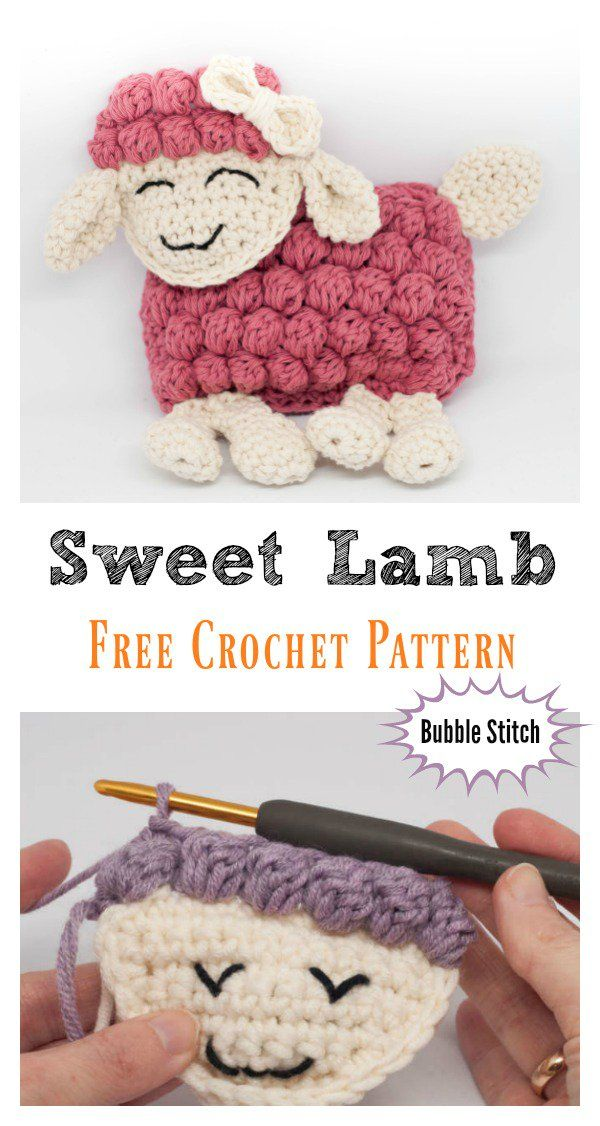 Sweet Bubble Stitch Lamb Free Crochet Pattern