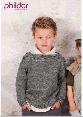 Pull enfant modèle Phildar 2 à 14 ans