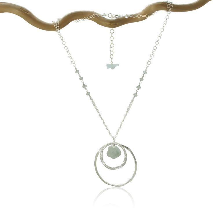 AQUAMARINE 2 Karma Circles Silver Necklace