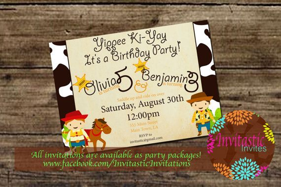 Cowboy and Cowgirl Birthday Party Invitation - Western party, Saddle up printable birthday party invitation