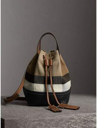 Burberry Small Canvas Check and Leather Bucket Bag  handbags   Saucy ... 60de79e00e