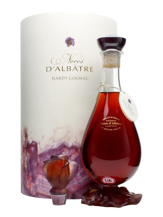Hardy d'Albatre Cognac / Rosebud Family Reserve : Buy Online - The Whisky Exchange - A blend of Grande Champagne cognacs obtained by Armand Hardy shortly after the First World War, this is a delicate, floral and rare cognac presented in a Daum crystal decanter called Rosebud.