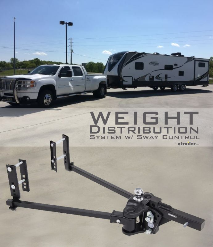 Create a more stable ride for your tow vehicle and trailer with a weight distribution hitch. Adding spring bars to your towing system applies leverage, which transfers the load that is pushing down on the rear of your vehicle to all the axles on both your tow vehicle and your trailer, resulting in an even distribution of weight throughout. The result is a smooth, level ride, as well as the ability to tow the maximum capacity of your hitch.