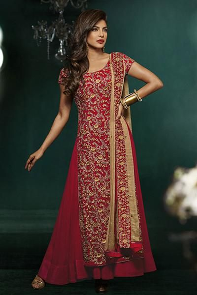 Priyanka Chopra beautiful in fashionable red color anarkali suit