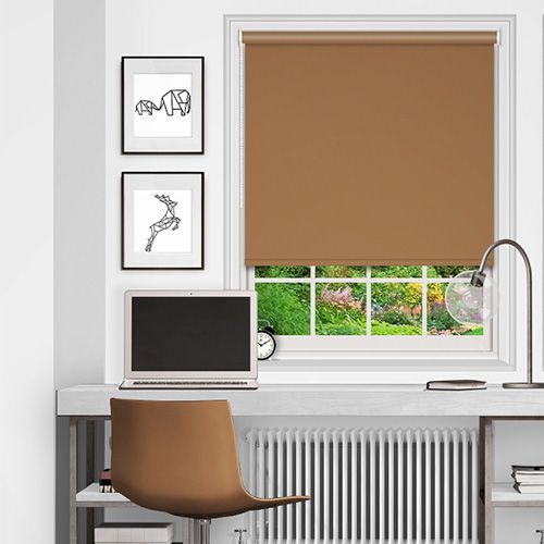 Simple roller blind fabric in a shade of warm brown beige with blackout properties ensuring privacy