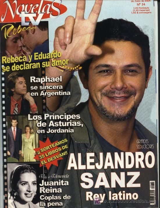 NOVELAS TV Nº 34 (31-05-04): Alejandro Sanz, Juanita Reina, póster central Penélope Cruz.