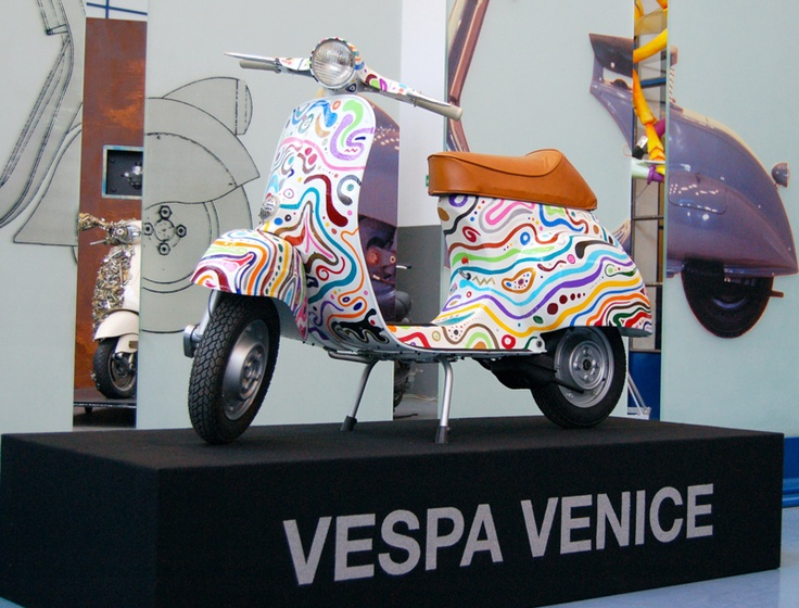 Vespa Venice at Vespa museum in Pontadera. Made by Venetian artist Luca Moretto.