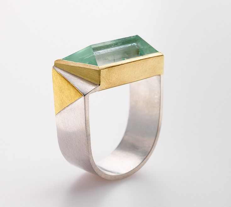 Regine Schwarzer - Ring - Aquamarine, sterling silver, 24ct gold