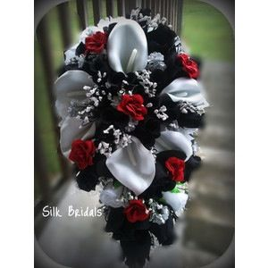 38 best wedding flower ideas images on pinterest bridal bouquets white and red wedding flowers on bridal bouquet silk wedding flowers black red white silver calla roses mightylinksfo