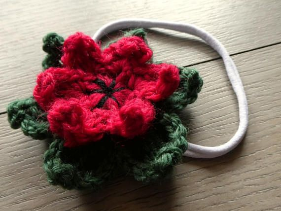 Crochet Christmas Poinsettia Headband for Baby Child or Adult