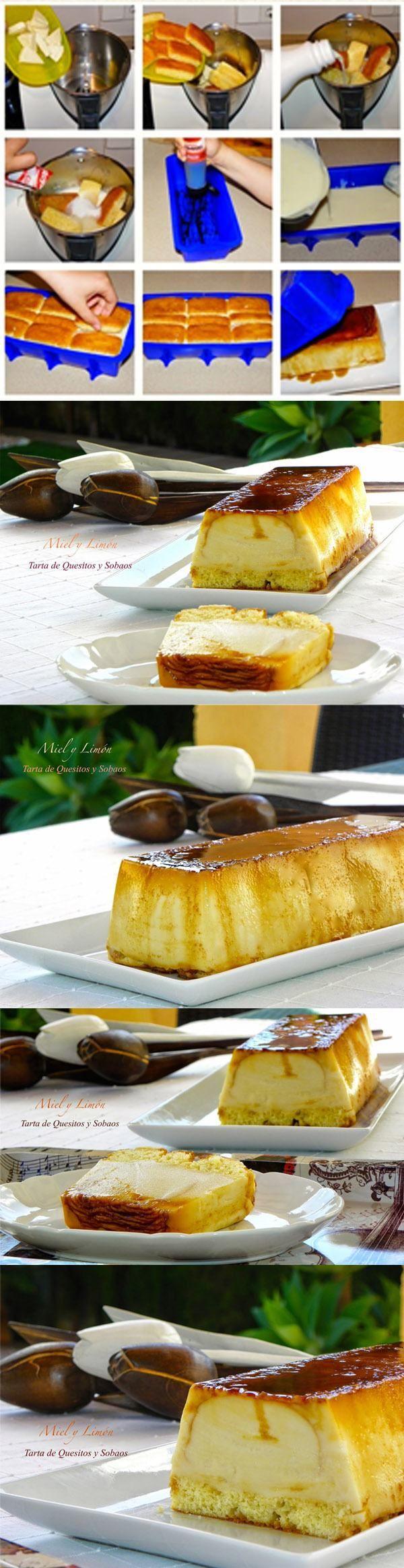 Tarta de quesitos y sobaos / http://mielylimonrecetas.blogspot.com.es/