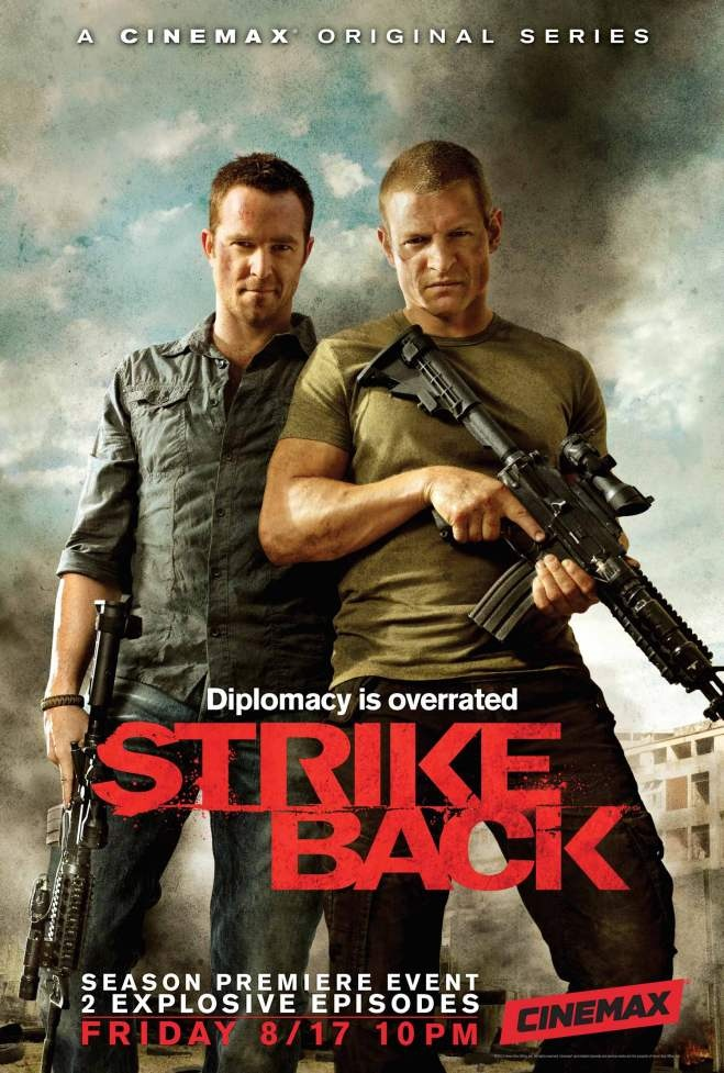 """Key art for season 2 of Cinemax action series """"Strike Back,"""" photographed by Michael Muller"""