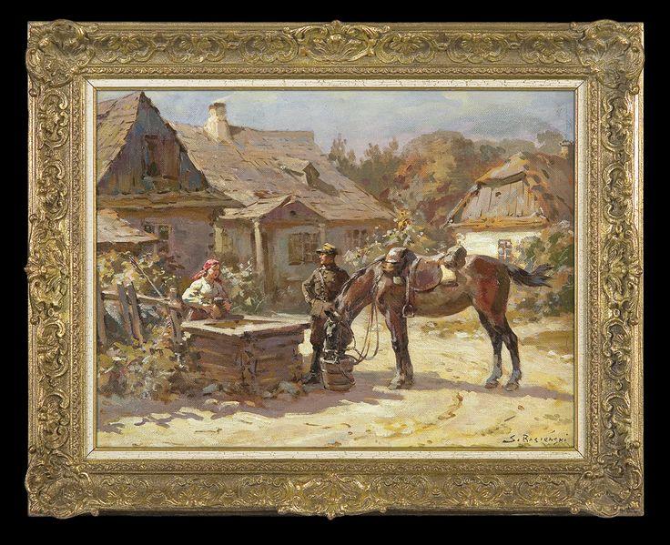 Bagieński Stanisław . POJENIE KONIA. UŁAN I DZIEWCZYNA PRZY STUDNI olej, płótno, 37.3 x 49.3