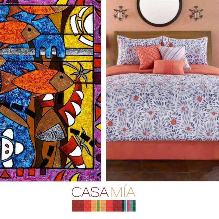 "Puerto Rican artist Oscar Ortiz's vibrant ""La pesca virgen de un hombre honrado"" inspired the Santa Marta collection. Shop the collection at: http://www.walmart.com/ip/Casa-Mia-Monterrey-7-Piece-Comforter-Set/39092285"