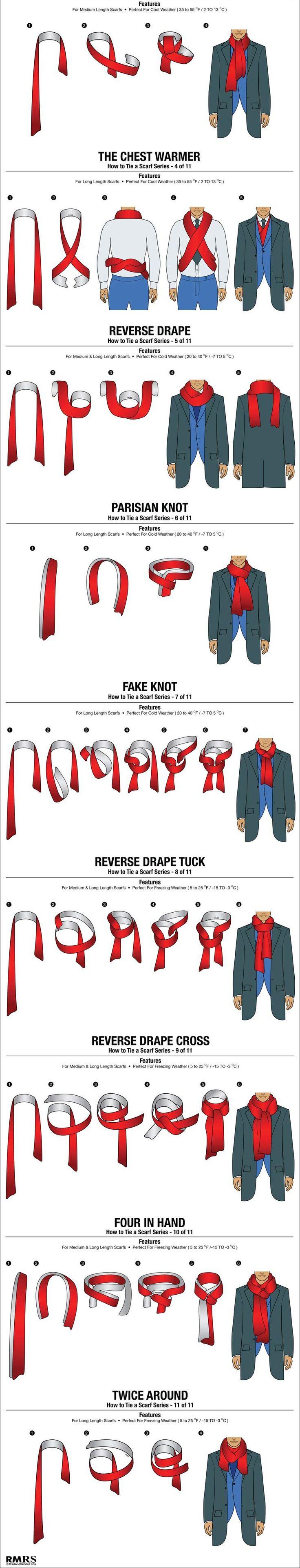 11 façons de faire un nœud d'écharpe. Conseil en image de soi, style vestimentaire masculin, relooking