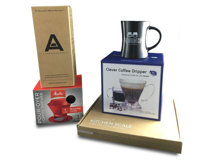 We love helping people discover great coffee and one of the best ways to do that is by trying new brew methods! Enter to win 3 different coffee brew methods, a scale and of course The Wright Cup. Get the right water to coffee ratio (hint: try 16:1) with your new Clever Dripper, American Press and the classic Melitta pour-over. Enter to win and share to increase your chances of winning!