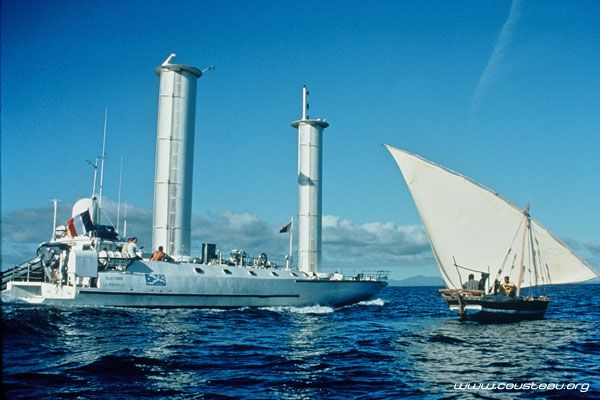Jaques Cousteau's turbo sail equipped boat Alcyone ...