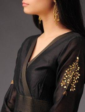 Black Chanderi Kalidar Kurta with Gold Zari Stitching Detail