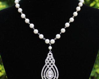 Collana di perle da sposa, perla e Collana ciondolo di cristallo, collana da sposa, gioielli da sposa, accessori sposa, gioielli damigella d'onore, agitare