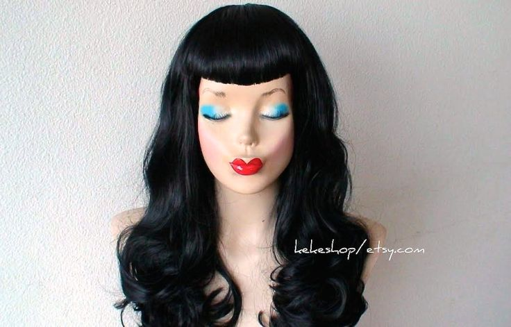 Bettie Page hairstyle inspired wig. U bangs wig. Pin up hairstyle wig. Retro. Black hair wig. by kekeshop on Etsy https://www.etsy.com/listing/162279828/bettie-page-hairstyle-inspired-wig-u