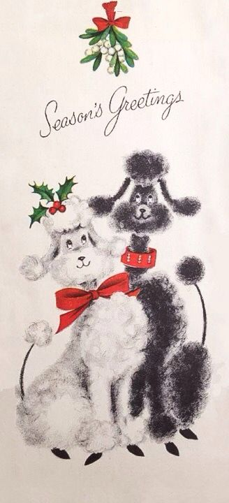 vintage poodle christmas