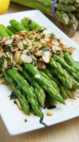 Asparagus Amandine ~ served in a quick brown butter, lemon and almond sauce