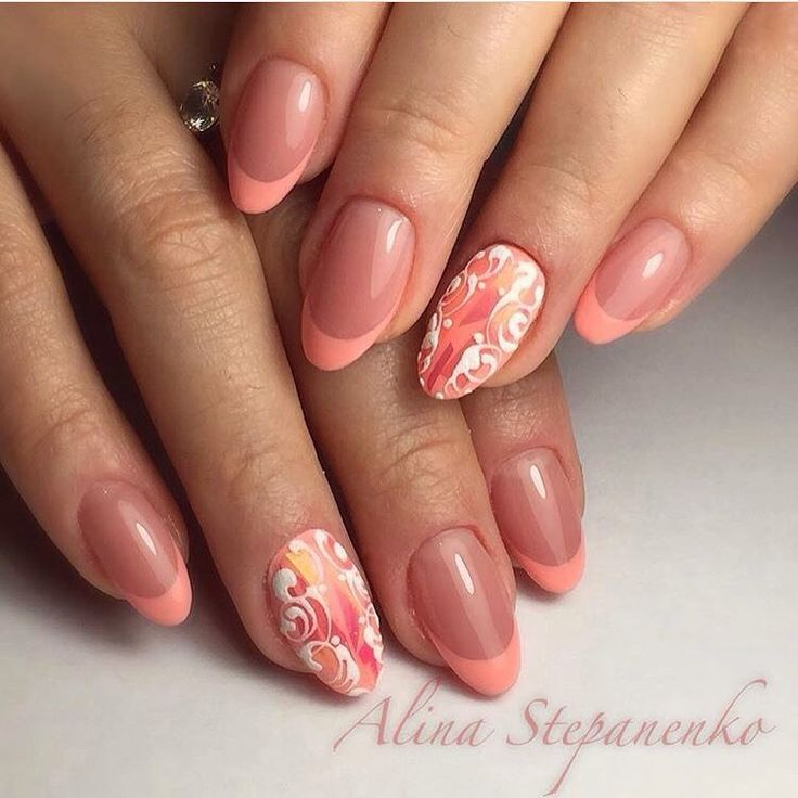 Autumn nails, Fall nail ideas, French manicure ideas 2017, Ideas of peach nails, Nails trends 2017, Painted nail designs, Peach and white nails, Peach dress nails