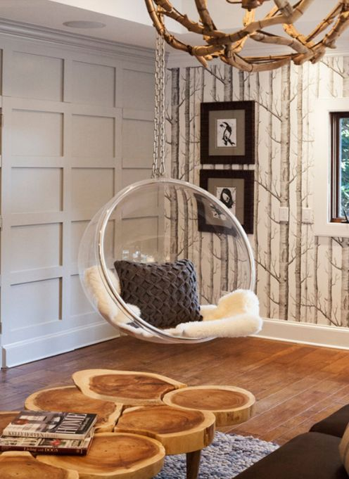 Lucy and Company: Hip rustic chic living room with fun Cole and Sons Woods Wallpaper lining the walls. ...
