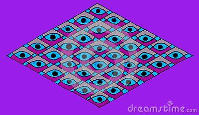 Hand drawn horizontal diamond shape filled with repeating horizontal diamonds with an eye shaped/Christian fish design, isolated on a purple background.