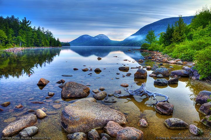 Jordan Pond & the Bubble Mountains  This shows Jordan Pond and the Bubble Mountains during a sunrise in Acadia National Park, Maine.