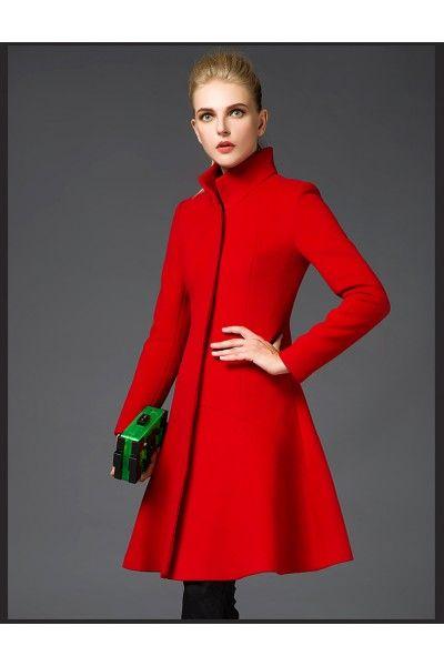 manteau rouge femme pas cher manches longues col haut fermeture zip
